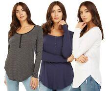 Ladies Organic Cotton Button Front Stripe Plain Colour Long Sleeve Tops