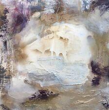 CHRISTMAS GIFT SWAROVSKI ART LARGE PURPLE Art Silver Rust HEAVY TEXTURED OIL ART