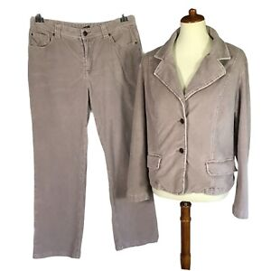 Vintage Retro Corduroy Pantsuit Two Piece Set Size 16
