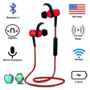 Bluetooth Magnetic Sport Headphones Sweat-proof Wireless Noise Cancelling 4.1