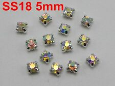 200 Silver With Clear AB Crystal Glass Rose Montees 5mm Sew on Rhinestones Beads