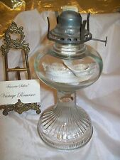 "Antique Coal Oil Lamp Queen Anne Pressed Glass 11.5"" Tall Metal Burner Cotton Wk"