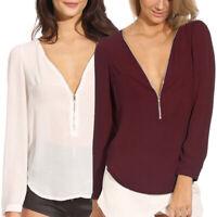 UK Women Summer Deep V-neck T-shirt Long Sleeve Loose Top Blouse Size S-2XL
