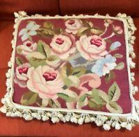 Needlepoint Pillow Roses - Beautiful Design - 19 X 19