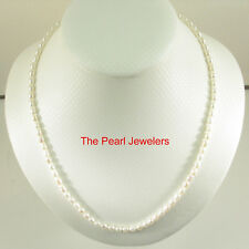 White Rice Shaped Freshwater Cultured Pearls Necklace Alloy Lobster Clasp TPJ