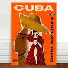 "Stunning Vintage Travel Poster Art ~ CANVAS PRINT 24x16"" ~ Cuba Orange"