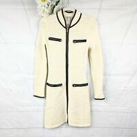 Boston Proper Women's Cream & Black Multi Zipper Long Sweater Jacket Size XS