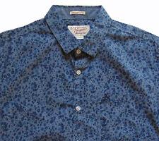 Men's PENGUIN Gray Blue Floral Paint Short Sleeve SLIM FIT Shirt Large L NWT NEW