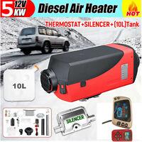 12V 5KW Air Diesel Heater Remote W/ Silencer 10L Tank For Trucks Boat Car 1x