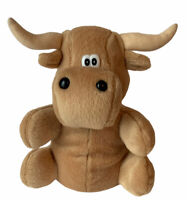 "Bull Plush Bean Bag Stuffed Animal Soft Toy Mascot 7"" Art's Toy Mfg. EUC Clean"