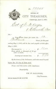 1891 Cambridge Massachusetts (MA) Office of City Treasurer George M. Rogers Will