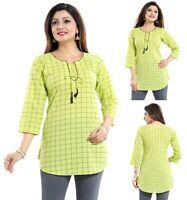 Women Indian Short Kurti Tunic Kurta Shirt Top Cotton Printed Dress Green NK44G