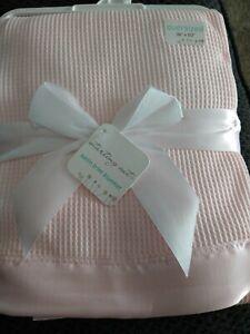 Pink Thermal Waffle Weave Crib Blanket Satin Trim - Baby Morgan Like