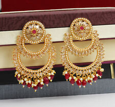 Indian Bollywood Gold Plated Pearl Fashion Ruby Jhumki Earring Women Jewelry Set