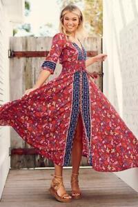 JAASE WOMEN'S INDIANA MAXI DRESS HARLEM PRINT BURGUNDY REDS PINKS BLUES FLORAL