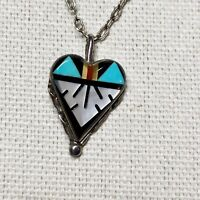 Vintage Zuni Sterling Silver Inlaid Heart Pendant Signed B K Turquoise Onyx MOP