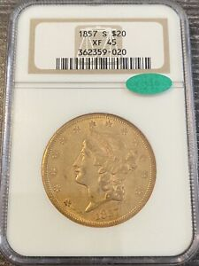 M14130- 1857-S GOLD $20 LIBERTY DOUBLE EAGLE NGC XF45 CAC
