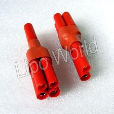 HXT 4mm Buchse  2x Stecker parallel Hochvoltstecker Adapter Lade Kabel LiPo Akku