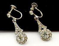 Art Deco Rhinestones dangle screw back earrings. B30.