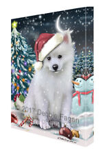 Holly Jolly Christmas American Eskimo Dog in Holiday Canvas Wall Art T174
