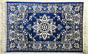 """PLUSH AREA RUG MADE IN ISRAEL 2005 ARTISTIC DESIGN ON ROYAL BLUE WITH FRINGE 42"""""""