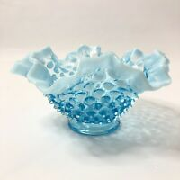 "Fenton Opalescent Blue Hobnail 7"" Round Crimped Ruffled Bowl Candy Dish"