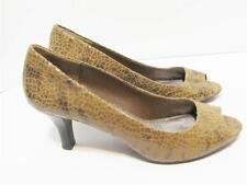"MODA SPANA~Brown Snake Embossed Peep Toe 3"" Pump Shoe~9-1/2 Medium"