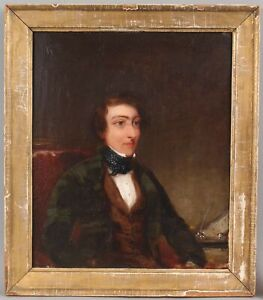 19thC Antique Folk Art Portrait Oil Painting Young Gentleman Quill Pen & Inkwell