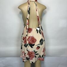 Wild Flower Floral Halter Dress Sleeveless Lined Tunic Juniors Size L Cocktail