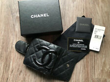 CHANEL Authentic Women's Black Quilted Leather 'Cambon Line' Bifold Wallet