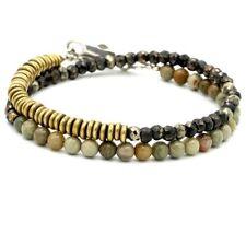 💛 Tateossian London Style Stunning Mens Bracelet Jasper & Pyrite Sterling 💚