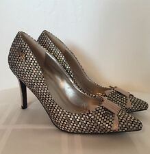 Ruby Shoo Jenna Shoe Metallic Black Silver & Gold Pattern With Bow Size 6