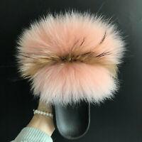 Peach Pink/ Brown Real Fox Fur Slides Slipper Indoor Outdoor Sandals Flat Shoes