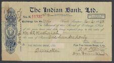Malaya The Indian Bank Ltd. Kuala Lumpur 1949 cheque check