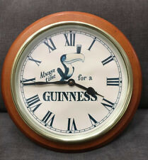 Vintage Guinness Beer Toucan Clock Rare Round Wooden Wall Pub Clock Ireland