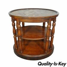 Vintage Brittany Drexel Heritage Patchwork Walnut Olive Wood Oval Side End  Table