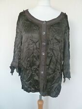Fab M&S Per Una Chocolate Brown Crinkle Satin Button Front Top Plus Size 20 VGC