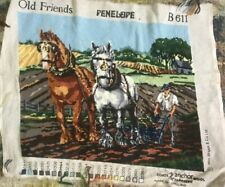 Vtg Large Completed Penelope Tapestry Needlepoint Shire Horses Old Friends B611