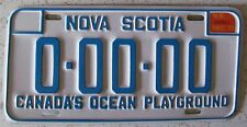 Nova Scotia 1973 SAMPLE License Plate SUPERB QUALITY # 0-00-00