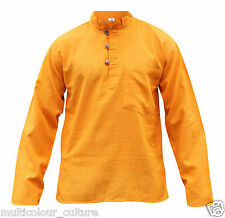 Mens Light Plain Collarless Casual Festival Hippie Full Sleeved Grandad Shirt