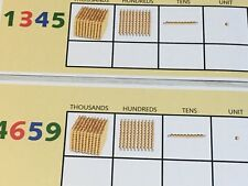 Golden Beads Place Value Kit - 21 - Laminated dry erase cards