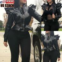 Women's PU Leather Puff Sleeve Coat Ladies Casual Slim Jacket Blazer Bomber Tops