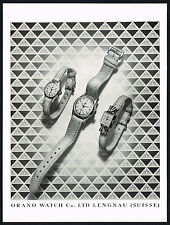 1950s Vintage 1951 Orano Swiss Watch Mid Century Art Print Ad