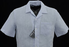 Men's MURANO Light Blue Linen Fitted Open Neck S/S Shirt Large L NEW NWT