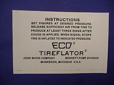 ECO 97 98 Air Meter Tireflator Instruction Stick on Label