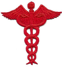 MEDICAL PROFESSION RED CADUCEUS Iron On Patch Nurse Medic