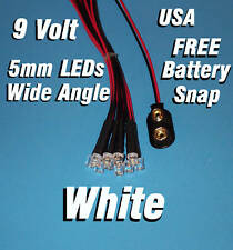 10 x LED - 5mm PRE WIRED LEDS 9 VOLT WIDE WHITE 9V