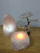 "8"" Rose Quartz Gem Tree Lamp Candle Holder Gift Set Gemstone Crystal Tree Reiki."