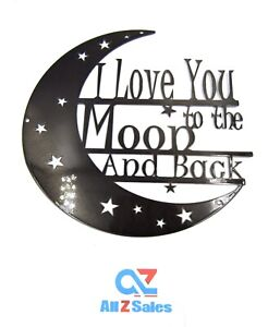 """I Love You to the Moon and Back - Round Metal Wall Decor, Steel Sign Wall Art 8"""""""