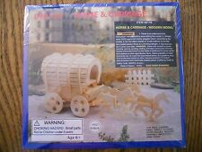 Horse & Carriage Covered Wagon Model Kit Never Opened Plywood New in Package